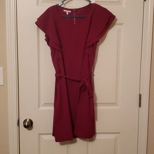 Maroon dress with tie waste